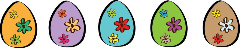 Happy Easter Banner With Five Eggs Illustration stock illustration