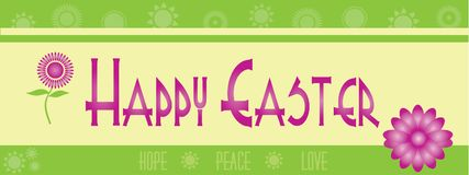 Happy Easter Banner with Flowers. Green and Yellow Happy Easter Banner with Flowers, Peace, Hope, and Love Royalty Free Stock Photos
