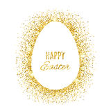 Happy Easter banner with gold glitter egg Royalty Free Stock Images