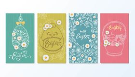 Happy Easter banner, greeting card with hand drawn flowers, eggs. Royalty Free Stock Photography