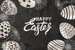 Free Happy Easter Banner, Greeting Card, Poster Design. Vector Illustration Of 3d Easter Eggs And Sketched Chamomile Flowers Royalty Free Stock Images - 110558629
