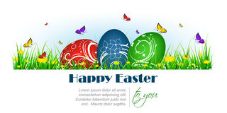 Happy easter banner with painted eggs, butterflies and dandelion Royalty Free Stock Photos