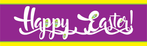 Happy Easter banner in purple Stock Image