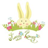 Happy easter banner with rabbit Stock Photos