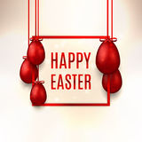 Happy Easter banner with red eggs Royalty Free Stock Images