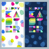 Happy Easter  banner set. Geometric lettering and colorful Easter eggs. Stock Image