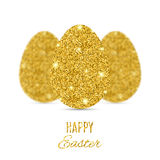 Happy Easter banner with three gold glitter eggs Royalty Free Stock Images