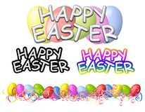 Happy Easter Banners Logos and Border. A clip art illustration featuring a variety of Easter graphics including Happy Easter banners and logos, and an Easter egg