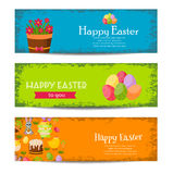 Happy Easter banners set with Colorful Eggs, Yellow Chick ,Crocus, Cake, Bunny Rabbit,Carrots,bouquet of flowers,Basket Royalty Free Stock Photo