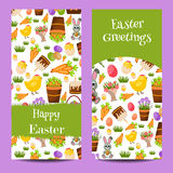Happy Easter banners set with Colorful Eggs, Yellow Chick ,Crocus, Cake, Bunny Rabbit,Carrots,bouquet of flowers,Basket Royalty Free Stock Photography