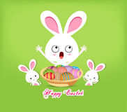 Happy easter with basket of eggs and bunny Royalty Free Stock Images