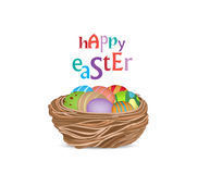 Happy easter with basket of eggs Stock Photos
