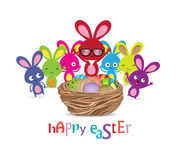 Happy easter with basket of eggs and bunny funny Royalty Free Stock Images