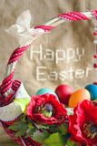 'Happy Easter' and basket with eggs. Poppies and butterfly Royalty Free Stock Photos