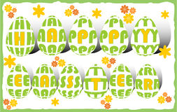 Happy easter billboard with letters in eggs and small flowers Royalty Free Stock Images