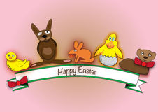 Happy Easter with animals. Happy Easter with bird and bunny and rabbit and chicken and lamb Stock Illustration