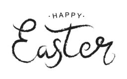 Happy Easter black paint lettering. Hand drawn calligraphy and brush pen design for the happy Easter day. Vector stock illustration