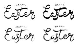 Happy Easter black paint lettering set. Hand drawn calligraphy and brush pen design for the happy Easter day. Vector royalty free illustration