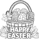 Happy Easter. Black and White Doodle Easter Eggs in the basket. Coloring book for adults for relax and meditation. Vector isolated. Black and White Doodle Easter Royalty Free Stock Photos