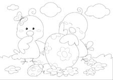 Coloring happy Easter greeting card with little chickens Royalty Free Stock Images