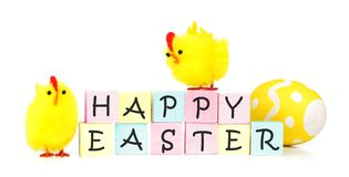 Happy Easter blocks with chicks Stock Photography
