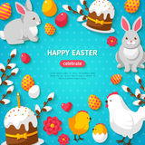 Happy Easter Blue Background Frame Royalty Free Stock Image