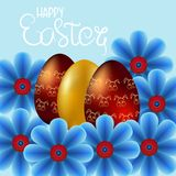 Happy Easter on blue background. Golden Eggs and Flowers. Paper Cutting. Vector Illustration for greeting card, poster, flier, blog, article vector illustration