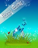 Happy Easter blue card Stock Photography