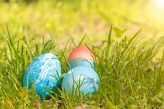 Happy easter, blue organic easter eggs, easter holiday decorations, easter concept backgrounds with copy space Stock Photos