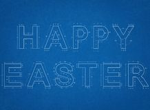 Happy Easter Blueprint Stock Photography