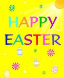 Happy Easter. Bright happy Easter greeting in colorful letters on yellow background surrounded by colored daisies and dyed eggs Royalty Free Stock Image