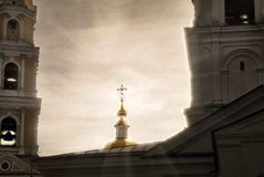 Happy Easter, brothers and sisters! Monastery of the Reverend Seraphim of Sarov in Diveevo Russia. royalty free stock images