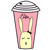 Happy Easter brush hand lettering on pink background, paper cup. Vector sign with little black heart. Cute hand lettered quote. stock illustration