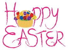 Happy Easter Brush Text with Tulips Royalty Free Stock Photo