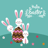 happy easter bunnies chocolate egg floral Royalty Free Stock Images
