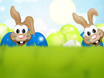 Happy easter bunnies. Festive design background Stock Photo