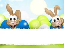 Happy easter bunnies. Festive design background Stock Photos