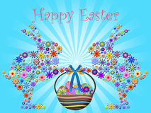 Happy Easter Bunnies Holding Basket of Floral Eggs Stock Images