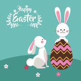 happy easter bunnies playing egg chocolate Stock Images