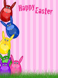 Happy Easter Bunny Background. Happy Easter Bunny with Striped Background and Grass Illustration Royalty Free Stock Photography