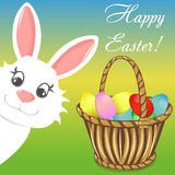 Happy easter bunny basket vector banner Royalty Free Stock Photo