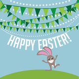 Happy Easter bunny and bunting Stock Photo