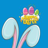 Happy easter bunny with calligraphic text, clouds , rainbow and color easter eggs isolated on blue background. vector. Easter greeting card with blue rabbits Stock Images
