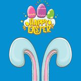 Happy easter bunny with calligraphic text, clouds , rainbow and color easter eggs isolated on blue background. vector. Easter greeting card with blue rabbits Royalty Free Stock Images