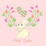 Happy easter bunny card. Happy easter bunny with eggs and spring flowers stock illustration