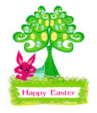 Happy Easter bunny carrying egg Royalty Free Stock Photos
