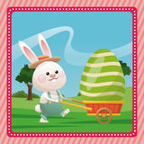 happy easter bunny carrying egg pink frame Stock Photos