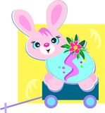 Happy Easter Bunny on a Cart Stock Photos