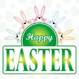 Happy easter bunny cartoon greeting card. Happy easter greeting card - bunny cartoon animal characters and words on green eggs background Royalty Free Stock Photos