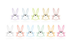 Happy easter bunny cartoon greeting card. Happy easter greeting card - bunny cartoon animal characters and words on white background Royalty Free Stock Photos